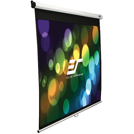 """Elite Screens 100"""" 16:9 Manual Pull Down Projection Screen, Matte White by"""