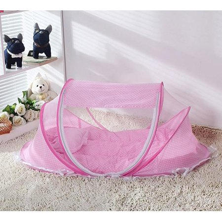 Elecmall Foldable Baby Cot Bed Mosquito Bug Net Mattress Pillow Tent Pink