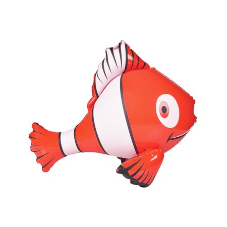 Inflatable Red Hawaiian Luau Tropical Clown Fish Pool Swimming Toy Decoration - Pool Decorations