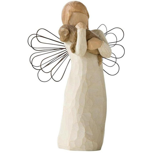 Angel of Friendship Puppy Dog Willow Tree Figurine Susan Lordi Demdaco 26011 New by Willow Tree