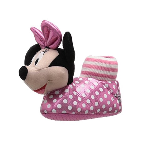 Disney Girls Minnie Mouse Slip On Polka Dot Novelty Slippers](Disney Slippers)