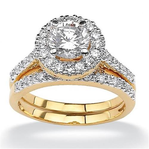 PalmBeach Jewelry 509696 1. 79 TCW Round Cubic Zirconia 18k Yellow Gold-Plated Bridal Engagement Ring Wedding Band Set -