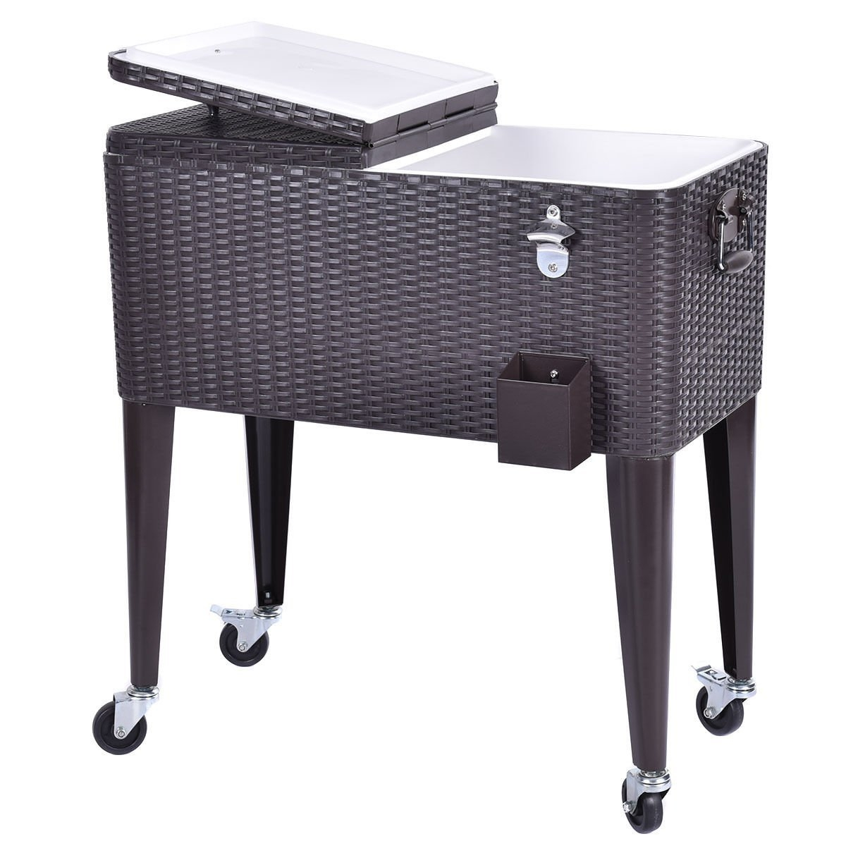 New MTN-G Outdoor Rattan 80QT Party Portable Rolling Cooler Cart Ice Beer Beverage Chest