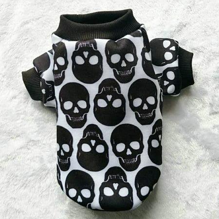 Pet Puppy Small Dog Cat Pet Clothes Skull Apparel T-shirt - Dog Sugar Skull
