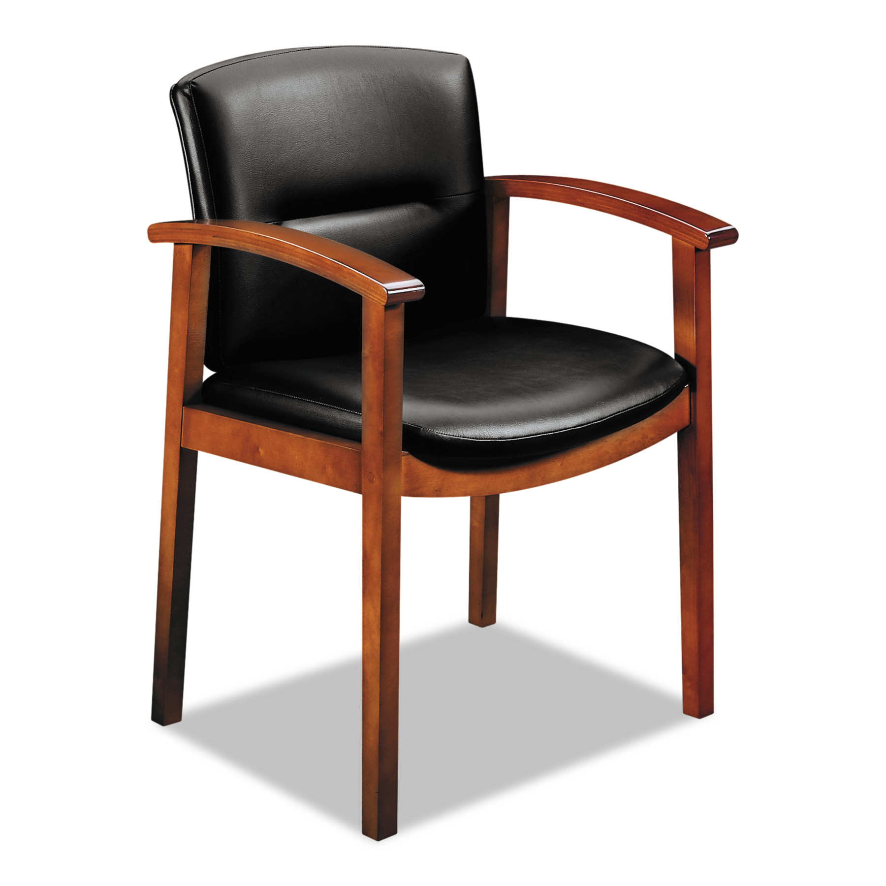 HON 5000 Series Park Avenue Collection Guest Chair, Black Leather/Henna Cherry