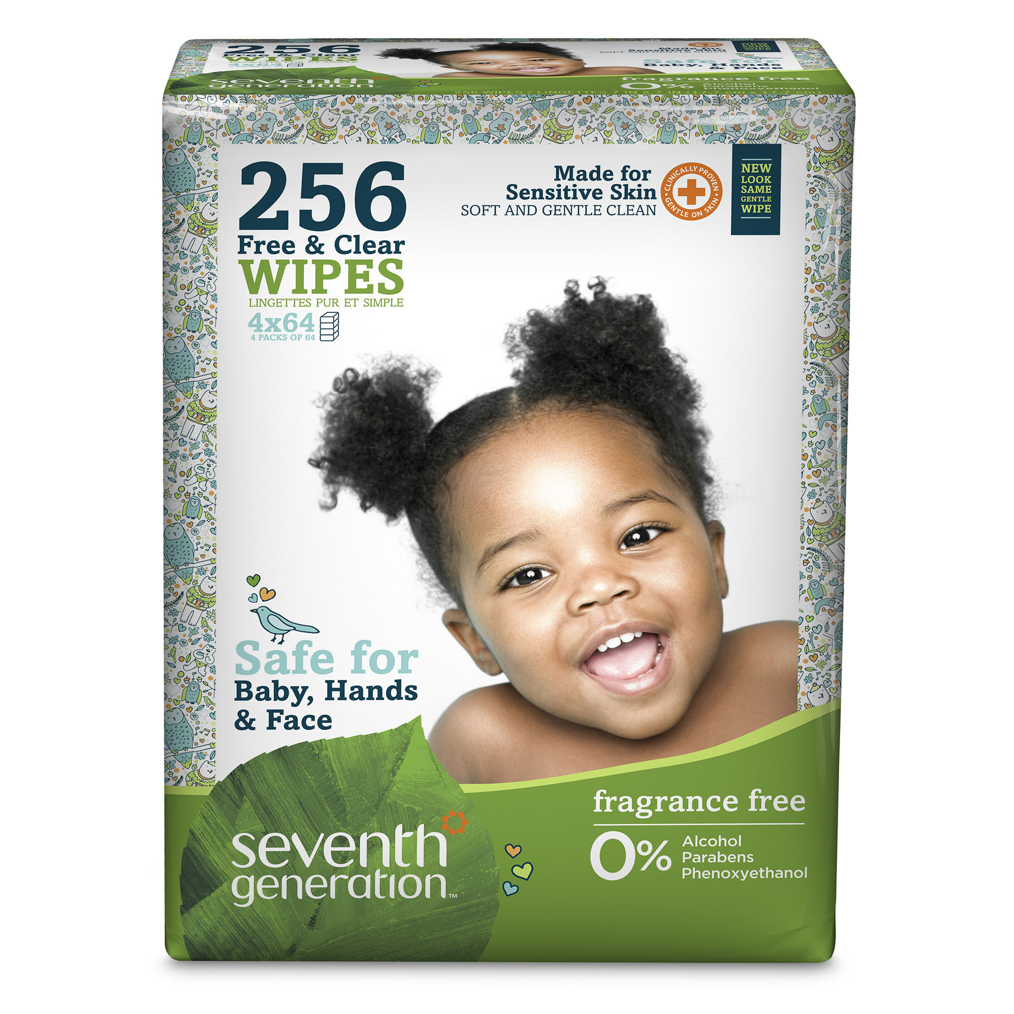 Seventh Generation Baby Wipes, Free & Clear, Unscented, Refill, 4 packs of 64 (256 count)