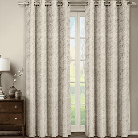 Tabitha Flower Curtains Jacquard Grommet Top Panels (Single) - Mink - 54x84