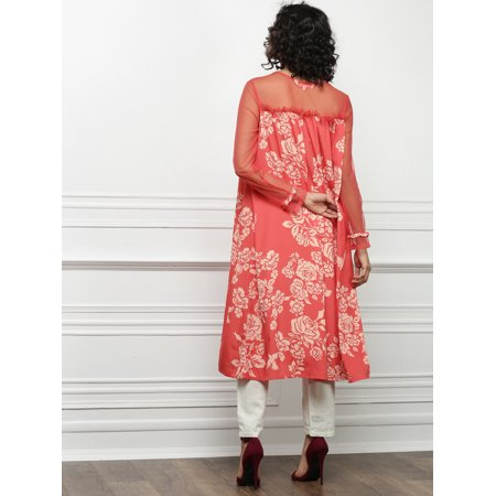 all about you from Deepika Padukone Women Peach-Coloured Printed A-Line Kurta - image 3 of 4