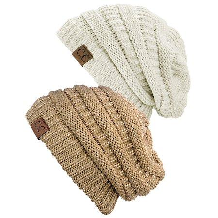 dda4e152d77 C.C - C.C Women s Knit Beanie Cap Hat (2 PACK) - Walmart.com