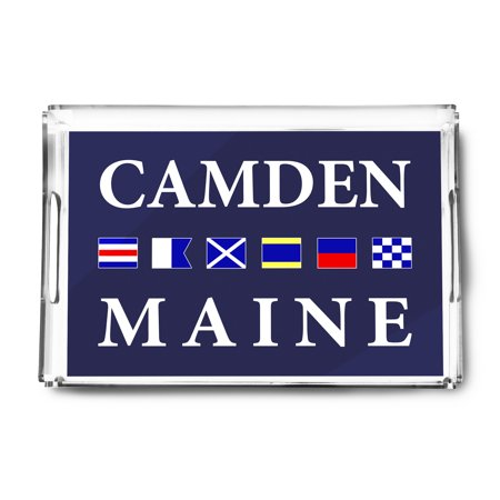 Camden, Maine - Nautical Flags (Acrylic Serving Tray) ()