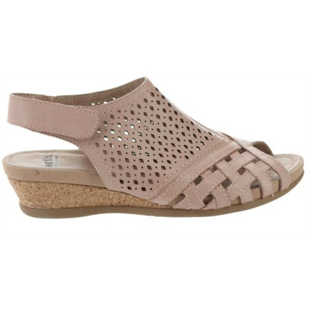 Earth Origins Earth Leather Perforated Wedge Sandals
