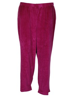 86702754523 Product Image Alfred Dunner Plus Size Magenta Velour Pull-On Side Pocket  Pant 24WS
