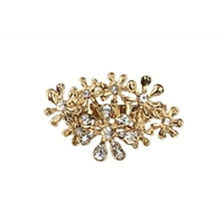 Amrita Singh Floral Burst Crystal Statement Two Finger Ring, Gold