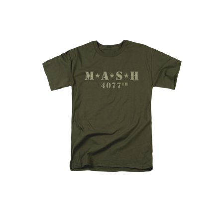MASH 1970's War Comedy TV Series Distressed Army Green Logo Adult T-Shirt - Men's 1970's Clothing