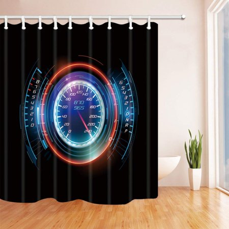 BPBOP Speed Decor Electronic Speed Instrument Panel of Racing Car Polyester Fabric Bathroom Shower Curtain 66x72 inches - Race Car Decor