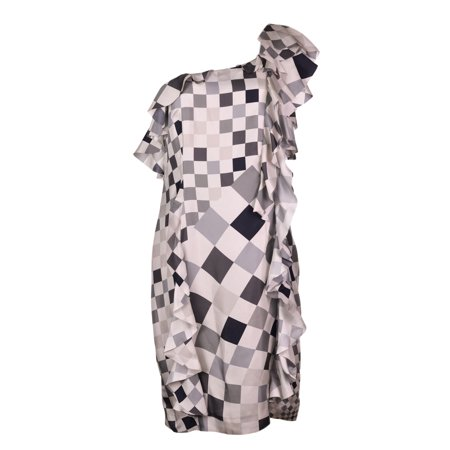 Paul Smith Women Grey Geometric Print Silk One Shoulder Dress](R2d2 Dress)