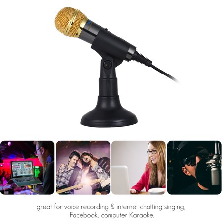 TRanshine PC-309 Mini Vocal/Instrument Microphone Portable Handheld Karaoke Singing Recording Mic with Stand Bracket Holder for Android Smartphone PC Mobile Phone Laptop Notebook - image 3 de 7