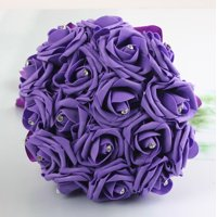 17 Head Artificial Fake Silk Roses Flower Bridal Rhinestone Crystal Bouquet  Bouquet Artificial Rose Home Garden Party Wedding Decoration
