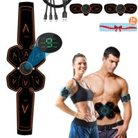 Abs Stimulator Recharge Muscle Toner Trainer Ultimate Abdominal Toning Belt for Men Women Power Fitness Abs Muscle Training Gear ABS Workout Equipment Portable with 16 Extra Gel Pads