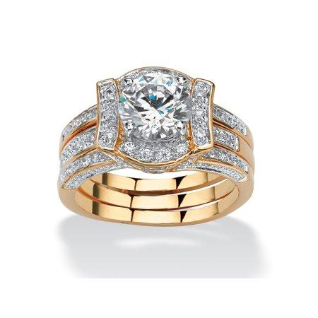 2.37 TCW Round Cubic Zirconia Channel-Set 2-Piece Jacket Bridal Set 18k Gold-Plated Round Bridal Set