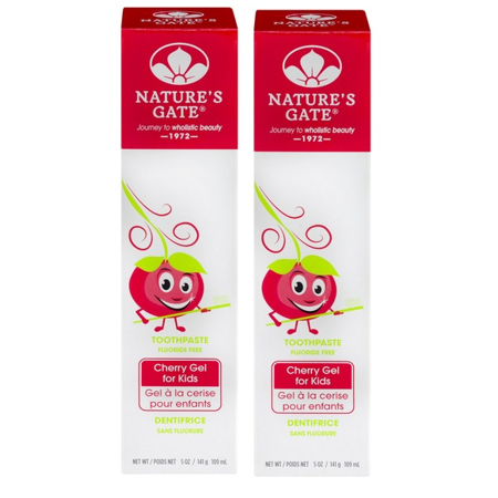 Nature's Gate Fluoride Free Cherry Gel Toothpaste for Kids Set of 2 ()