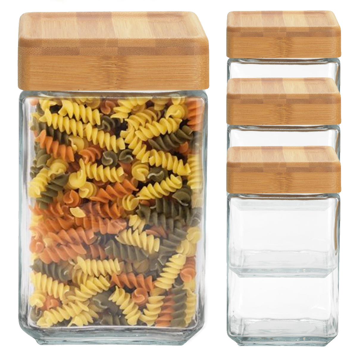 4 Anchor Hocking 48oz Glass Jars Container Bamboo Lid Airtight Seal Stackable Food Storage Saver