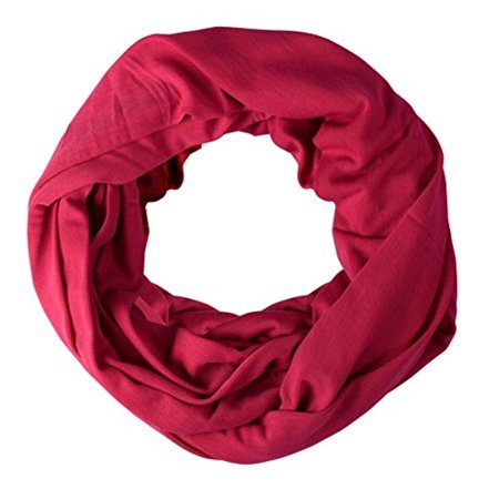 Cotton Soft Touch Vivid Colors Infinity Loop Scarf Scarves Jersey Knit Hot - Hot Pink Scarf