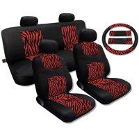 Unique Imports Red Zebra Black Mesh Breeze Seat Cover Set - Jeep Liberty Back Seats