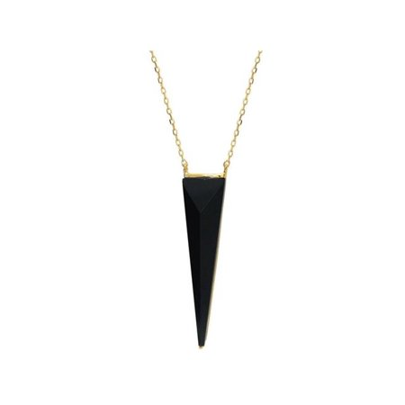 Black Vermeil Pendant - 551152 16 in. Black Onyx Pyramid Pendant Necklace in Vermeil