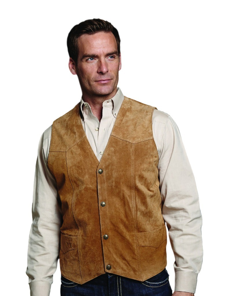Cripple Creek Outerwear Vest Mens Suede Leather Button Front ML3061