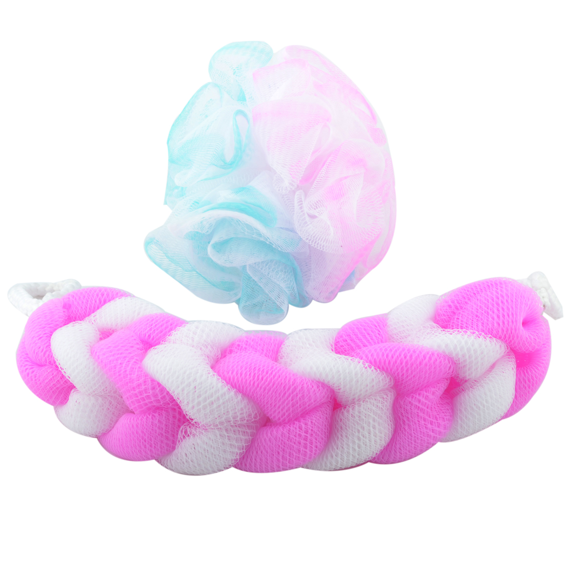 Bathroom Nylon Double Straps Meshy Bathing Bath Shower Pouf 2 in 1