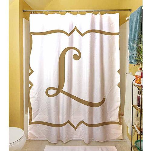 MWW, Inc. Thumbprintz Gold Script Monogram Shower Curtain
