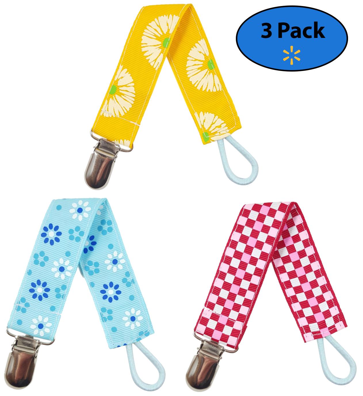 EliteBaby Unisex Pacifier Clip Holder, 3 Pack | Teething Toys, Soothie Pacifiers, Baby Blanket, & Baby Bibs | Stainless Steel Clasp | Baby Gift