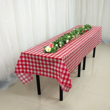Disposable Checkered Tablecloths (Disposable Thickened Table Cover Checkered Waterproof Tablecloth Birthday Party Decoration Red 137X274)