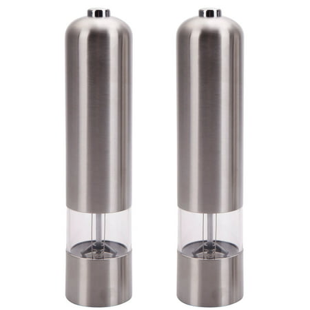 2pcs Pepper Mill Salt Grinder, Salt and Pepper Mills Salt and Pepper Grinders, Silver Stainless Steel Electric Grinder for Home, PKWQ125 Automatic Pepper Grinder or Pepper Mill for Kitchen
