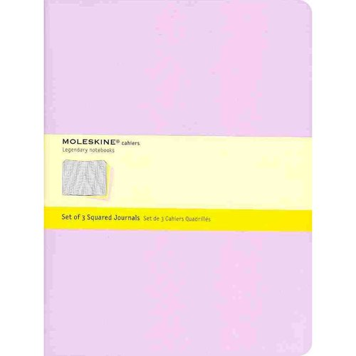 Moleskine Cahier Journal (Set of 3), Extra Large, Squared, Persian Lilac, Frangipane Yellow, Peach Blossom Pink, Soft Cover (7.5 X 10)