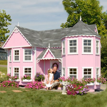 Victorian Cottage Gardens - Little Cottage Sara Victorian 8 x 16 ft. Mansion Wood Playhouse