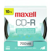 Maxell 648450 48x Write-Once CD-R For Data - 10/spindle, Carded For Peg Hooks