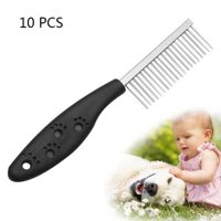 10 PCS Stainless Steel Pet Anti-slip Handle Grooming Comb - Black