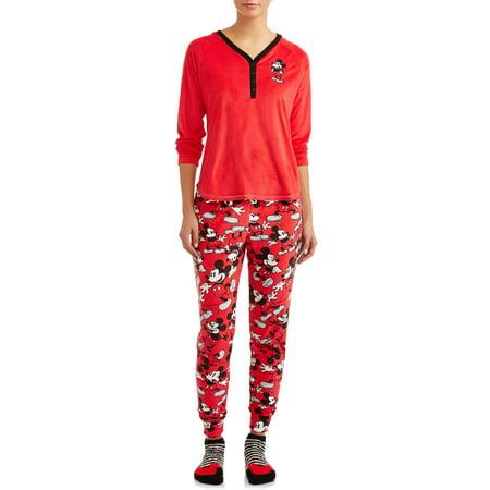 Disney Women's and Women's Plus Giftable Mickey 3 Piece Pajama Set (Disney Womens Pajamas)