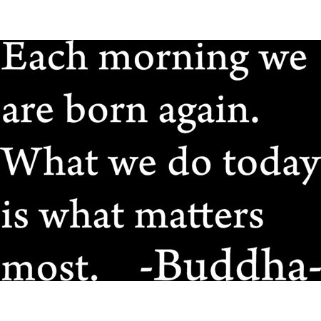 Matte White 27 x 20 Each morning we are born again Buddha Vinyl wall