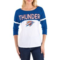 Women's New Era White/Blue Oklahoma City Thunder 3/4-Sleeve T-Shirt