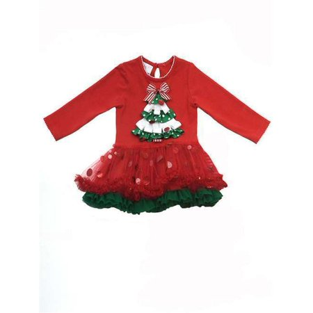 Girls Holiday Dress : Red Christmas Tree Girls Tutu Dress 4T
