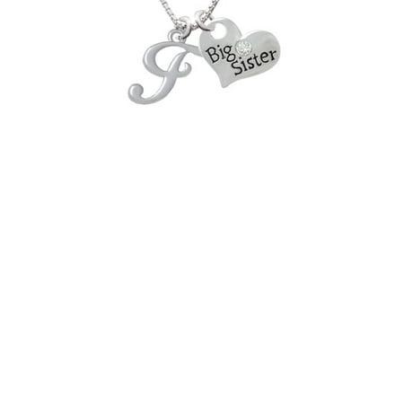 Small Gelato Script Initial   F   Big Sister Heart Necklace  18  2
