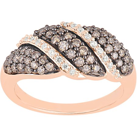 3/4 Carat T.W. Champagne and White Diamond 10kt Rose Gold Fashion Ring
