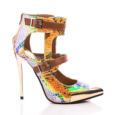 Wilson43 by Wild Rose, Snake Cut Out Metallic Pointy Toe Stiletto Ankle Dress Sandal