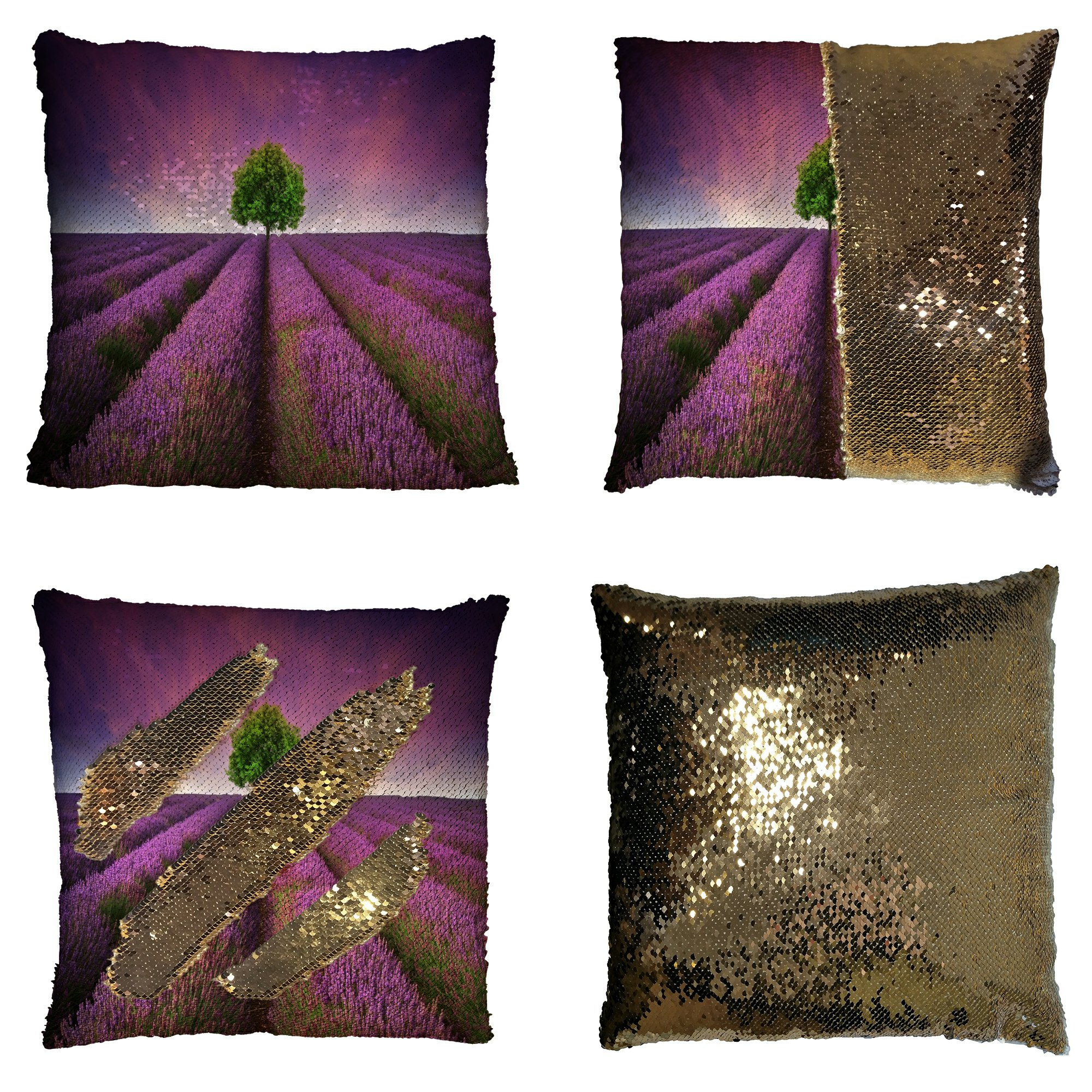 GCKG Nature View Sunset Pillowcase, Beautiful Lavender Field Reversible Mermaid Sequin Pillow Case Home Decor Cushion Cover 16x16 inches