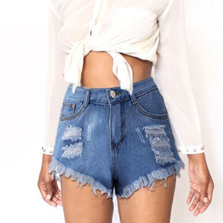 - High-waisted Blue Denim Shorts Women's Loose Shredded Jeans