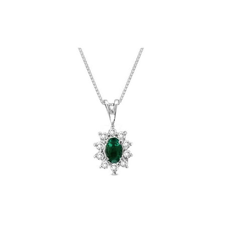 1/5 Carat Natural Emerald Pendant Necklace in 14K White Gold with Diamonds (H-I, I1-I2)