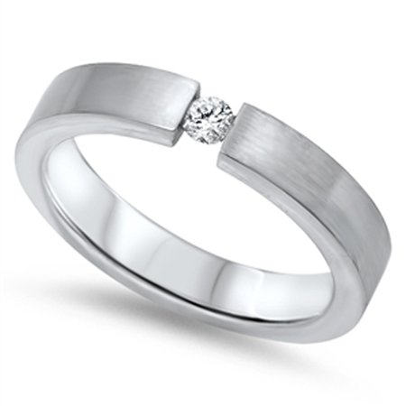 Tension Round White CZ Polished Ring ( Sizes 7 8 9 10 11 12 13 14 ) New 316L Stainless Steel Band Rings by Sac Silver (Size (Stainless Steel Tension Ring)